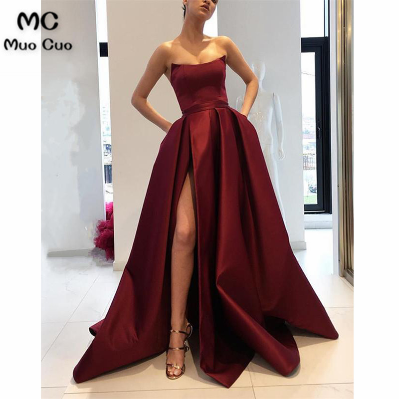 2018 Burgundy Strapless Bodice Evening Dresses with Pockets Leg Split Sweep Train A Line Burgundy Formal