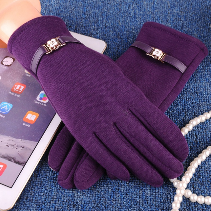NAIVEROO Waterproof and Warm Touch Screen Gloves made of PU Leather and Conductive Fibers for Women Suitable for Spring and Winter 50