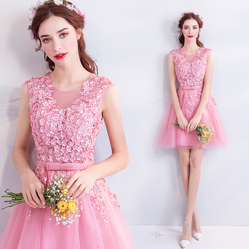 2018 new stock plus size women pregnant bridesmaid dresses wedding party A  line lace flower sexy romantic cheap pink dress cc0600ddc4b7