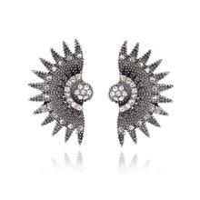 E0250 New Arrival 2017 Fashion Fan Design Stud Earrings Vintage Crystal Rhinestone Stud Earrings For Women Wedding Jewelry Gift