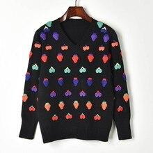 67935a82 Knit sweaters women 2019 spring autumn cute fruit handmade crochet sweater  pullovers casual knitwear tops female