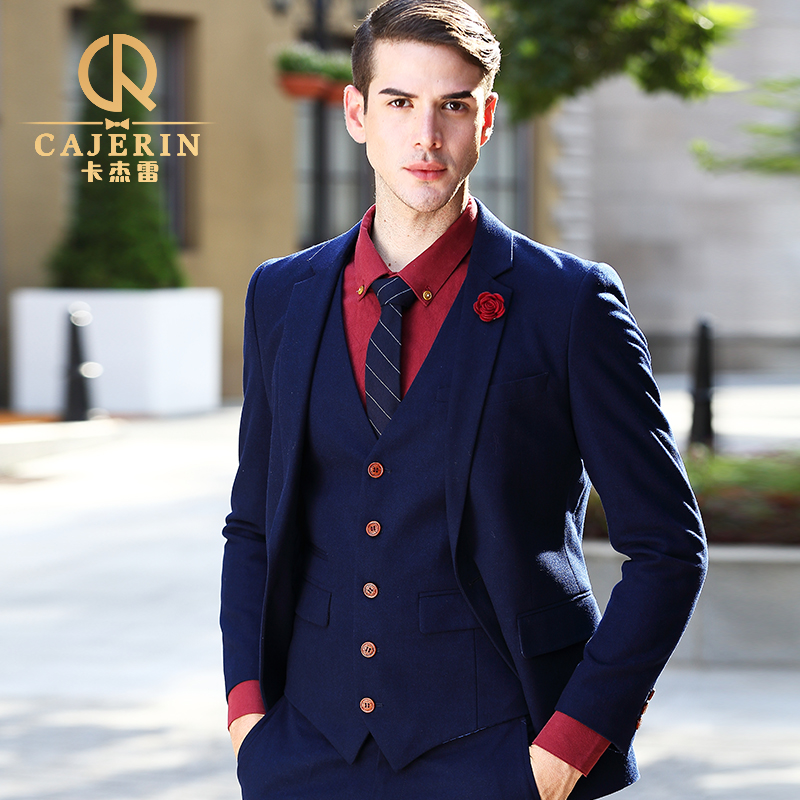 Thick mens suits wedding groom tuxedos slim fit royal blue dress suit