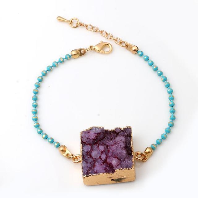 Geode Bracelet Metal Plated Ball Chain Drusy Bezel Pulseiras Femininas For Party