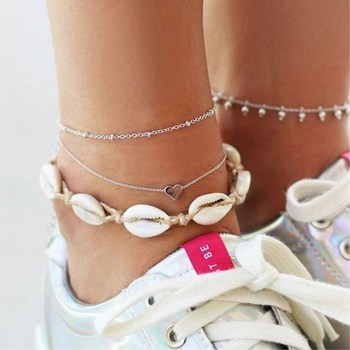 New Boho Multilayer Shell Beads Anklets For Women Moon Sun Vintage Beach Rope Ankle Bracelet on Leg Summer Foot Jewelry 1