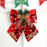 Red And Golden Color Christmas Bow Large Christmas Decoration Snowflake Christmas Bowknot 200G