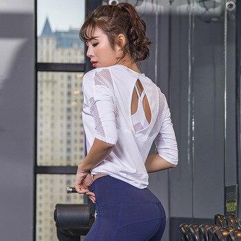 2019 New Sexy Sports Tops Gym Women Fitness T Shirt Woman Black White 3/4 Sleeve Yoga Top Mesh Womens Gym Tops Sport Wear Women 2