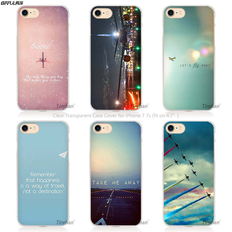 BiNFUL Hot Salepink Travel Aircraft Hard Transparent Phone Case Cover Coque for Apple iPhone 4 4s 5 5s SE 5C 6 6s 7 Plus