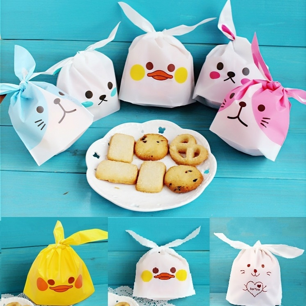 10Pcs Cute Rabbit Ear Cookie Bags Gift Bags Candy Biscuits Duck Panda Snack Baking Package Wedding Party Favors Decor