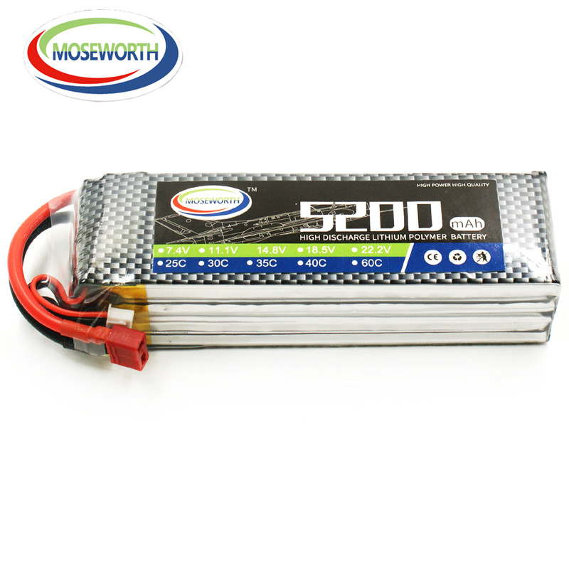 MOSEWORTH 4S 14.8V 5200mAh 30C RC LiPo Battery FOR RC Airplane Car Boat 4S Li-Po Batteries Free Shipping mos rc airplane lipo battery 3s 11 1v 5200mah 40c for quadrotor rc boat rc car