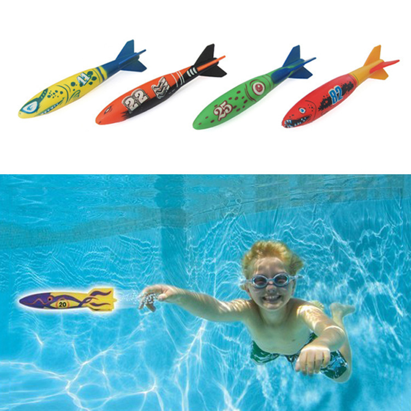 4 Pcs Of Diving Torpedo Rocket Throwing Toys Swimming Pool Diving Game Parent-Child Interactive Play Children Diving Stick Toys
