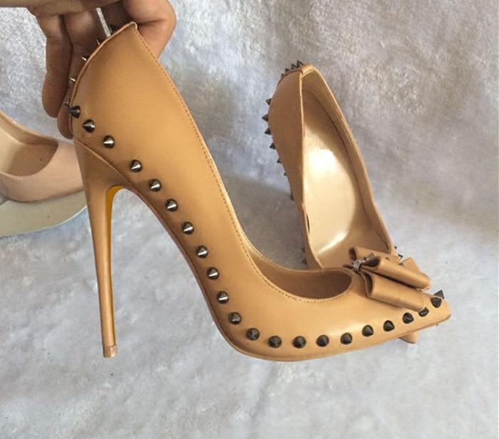 Nude Papillon Talons Le Bateau Sexy Chaussures Bureau As Mode Mince Pompes Rivets À Picture Pour Robe Libèrent Femmes noeud CExeWQrdBo