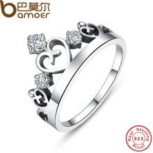 BAMOER 925 Sterling Silver Crown Ring with CZ for Women Wedding Original Fine Jewelry SCR001