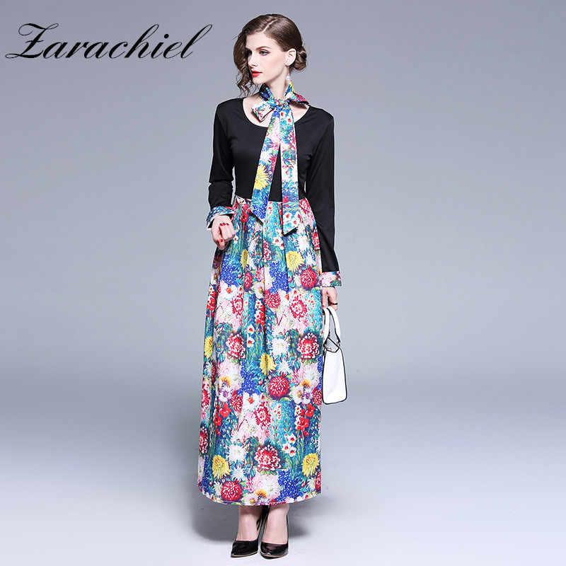 843b848128555 Runway 2019 Spring Women Dress Long Sleeve Vintage Floral Print Long Dresses  Patchwork High Waist Sashes