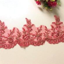 9Yards Red Floral Golden Car Bone Bridal Veil Alencon Lace Trim Costume Dress Decor Sewing Applique Crafts