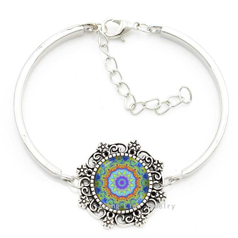 Bohemian style colar mandala indian jewelry sets religious Sacred geometry art flower bracelet earrings necklace jewelry set