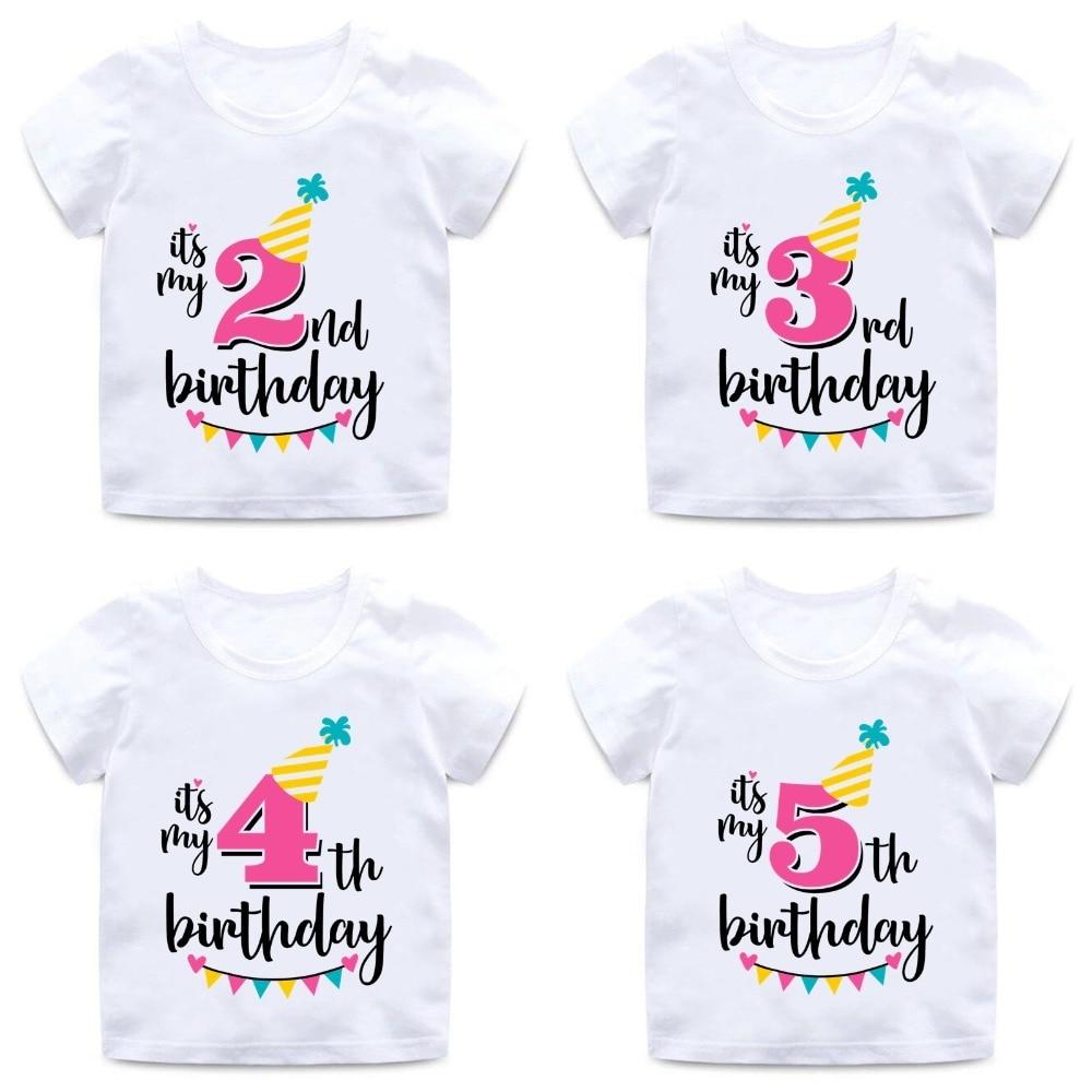 Baby Boys Girls Birthday T Shirt Summer Kids Funny Gift T-shirt Size 1 2 3 4 5 6 7 Years Tops Tees Tshirt Children Clothing