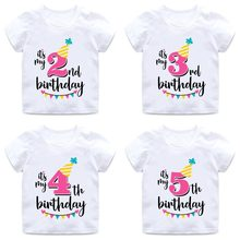 Baby Boys Girls Birthday T Shirt Summer Kids Funny Gift T-shirt Size 1 2 3 4 5 6 7 Years Tops Tees Tshirt Children Clothing(China)