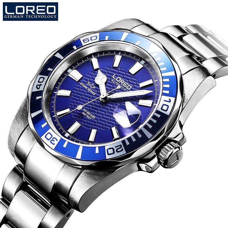 200 м водонепроницаемые автоматические часы для мужчин люксовый бренд LOREO полностью стальные механические часы сапфировый календарь светящиеся часы для мужчин L9202 - 6