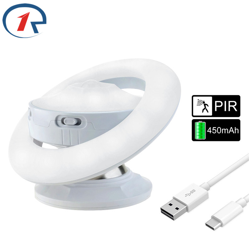ZjRight UFO PIR Body Motion Sensor Activated Wall Light Night Light Induction Lamp Closet Corridor Cabinet night Indoor lighting led pir body automatic motion sensor wall light sensor night light usb rechargeable induction lamp for closet bedrooms