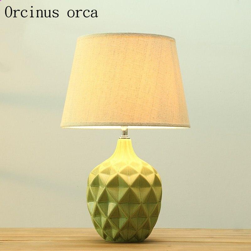 Nordic современный керамика настольная лампа, спальня ночники американский стиль простой и модные декоративные настольные лампы