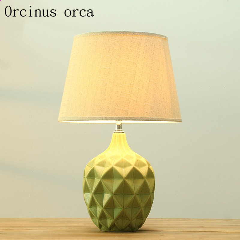 Us 139 5 10 Off Nordic Modern Ceramics Table Lamp Bedroom Bedside Lamp American Style Simple And Fashionable Decorative Table Lamp In Table Lamps