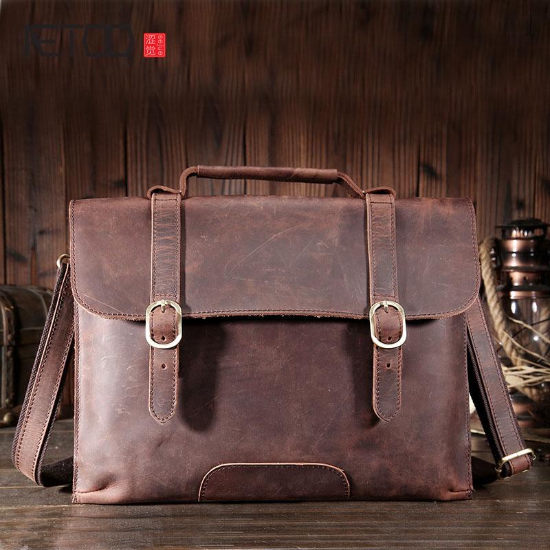 AETOO First layer of leather handmade computer bag briefcase frantic horse shoulder Messenger bag retro single shoulder diagonal