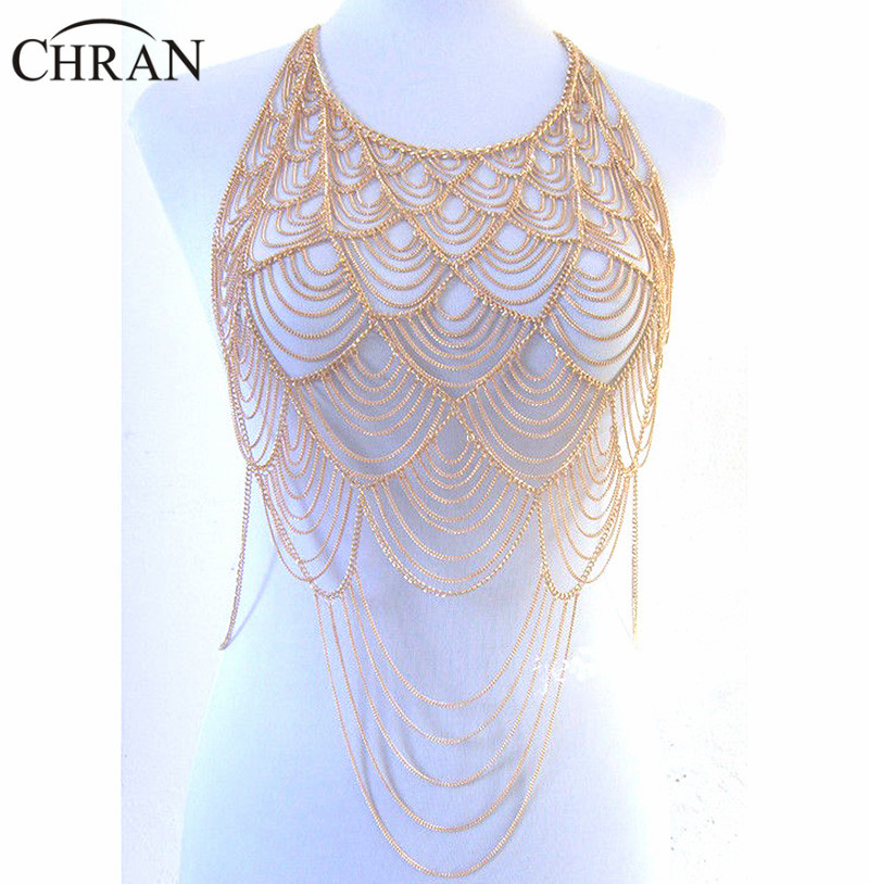 Chran Full Metal Body shoulder Chain Silver Gold Layered Europe Tassel Bib Necklace Bikini Harness Belly Dress Jewelry BSN205 все цены