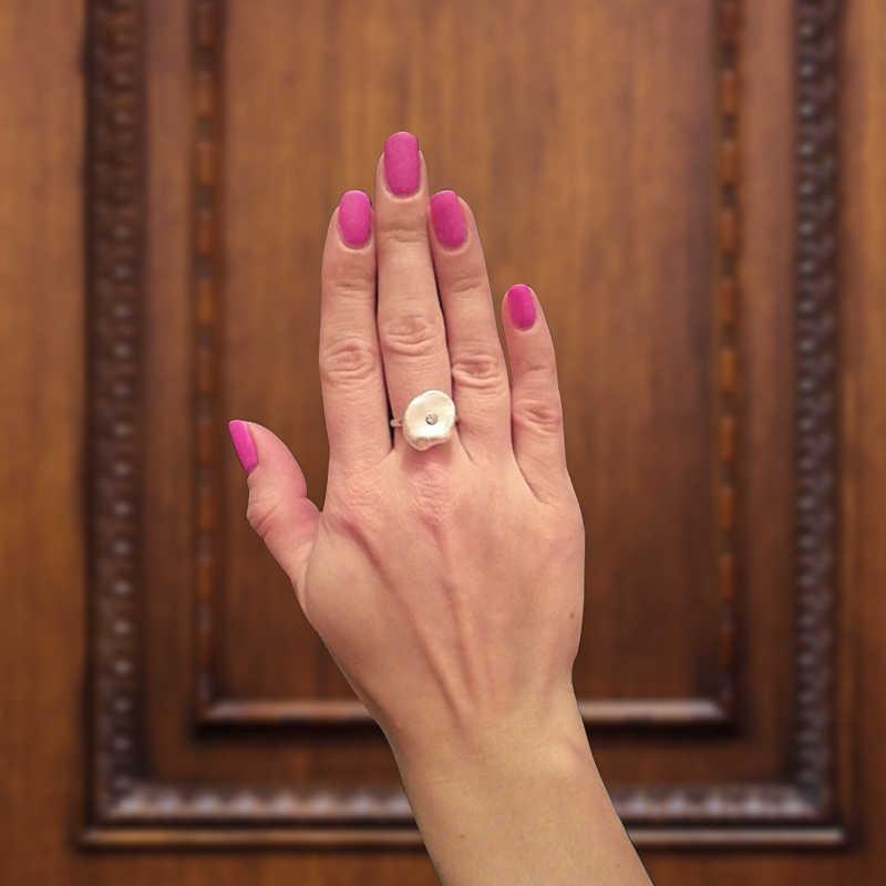 Hongye טבעי מים מתוקים פרל טבעת 925 כסף סטרלינג הבארוק תכשיטי זהב טבעות אופנה מעצב עבור נשים חתונה