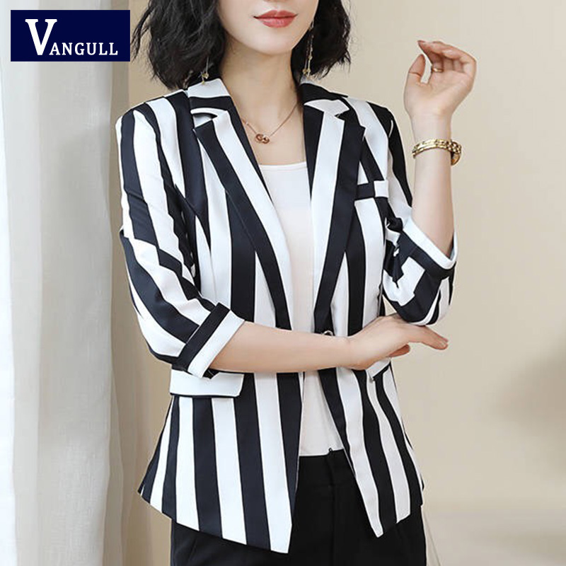 Vangull New Autumn Women Blazers Jackets Office Lady Suit Coat Fashion Slim White Black Strip Business Elegant Female Coat 2019
