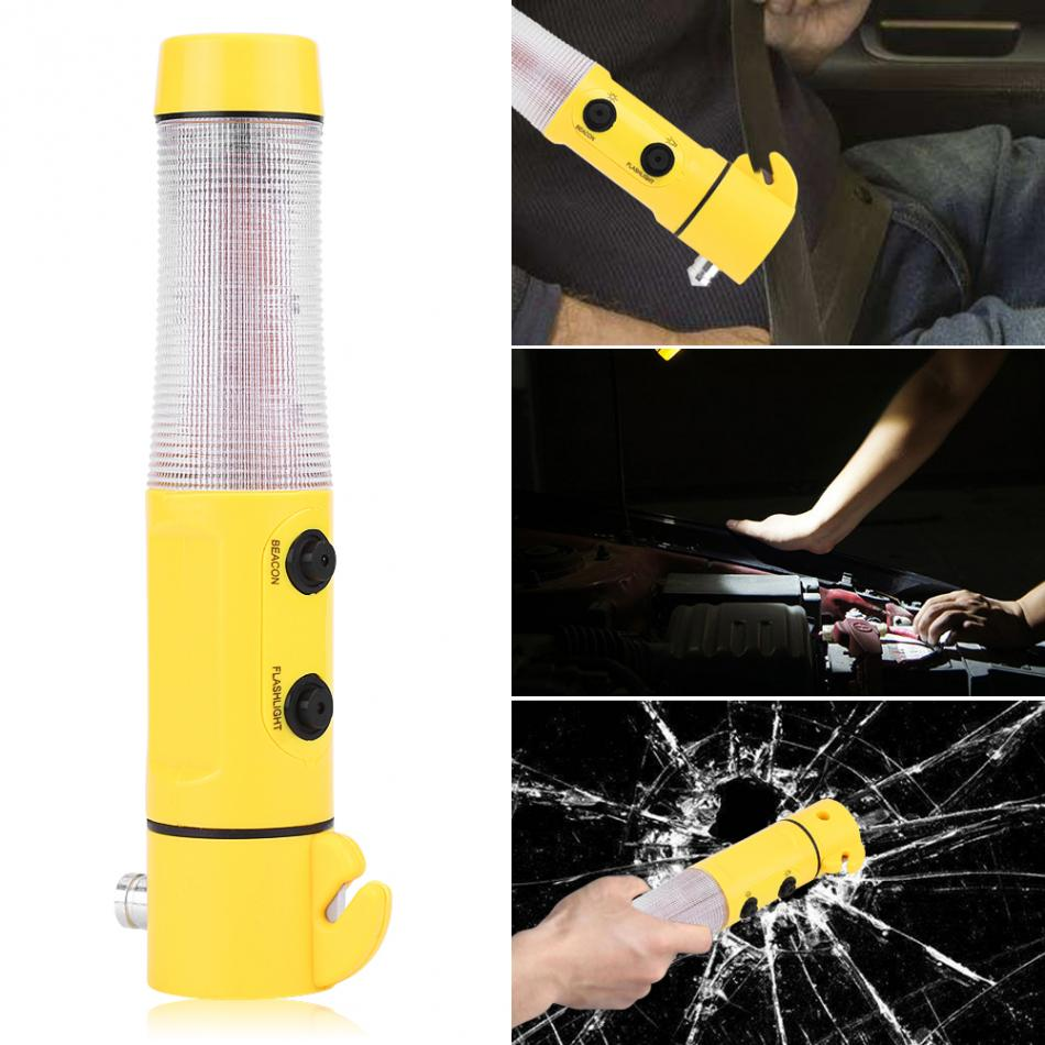 4 in 1 Car Emergency Escape Hammer Safety Seat Belt Cutter LED Torch Warning Flashlight  ...