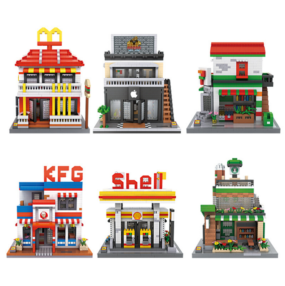 Loz mini diamond block city street view nanoblock McDonalds apple store shell oii station Starbuck coffee shop bricks toys loz mini block architecture city view scene christmas toy for children mini street model store shop bridal assembly toys 1636