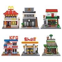 Loz mini diamond block city street view nanoblock McDonalds apple store shell oii station Starbuck coffee shop bricks toys