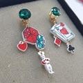 Lovely cute bag hand crystal girls shopping Jeans dress fire balloon rainbow cartoon Stud earrings Party Jewelry