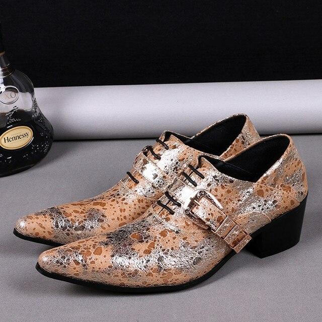 Schuhe 0choudory Herren Us174 Glitter High Hochzeit Marken In Heels Italienischen Leder Size46 Gold Geschäftliches Kleid Spitz n0wvmN8