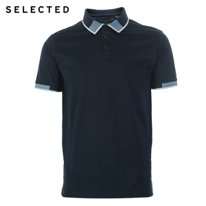 Image 5 - SELECTED  Mens Cotton Color Splicing Leisure  Collar Poloshit S