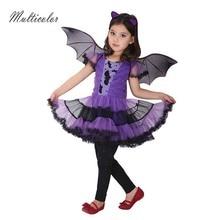 Вечерние маскарадные костюмы для девочек с летучей мышью; Детские платья для костюмированной вечеринки; фиолетовая одежда для Хэллоуина; красивые платья