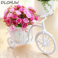 Artificial flowers Silk Roses plastic bicycle desktop decorative Rose bonsai plant Fake flowers for Wedding decorative flower