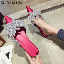 SUOJIALUN 2019 Spring Summer Flat Mules Shoes Women Fashion Crystal Slippers Casual Slip On Flats Heel Slides Elegant Sandals