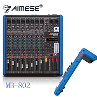 MB 802 Blue 8 Channel Microphone Digital Sound Mixing Amplifier Console Pro Karaoke Audio Mixer With USB MP3 48V Phantom Power