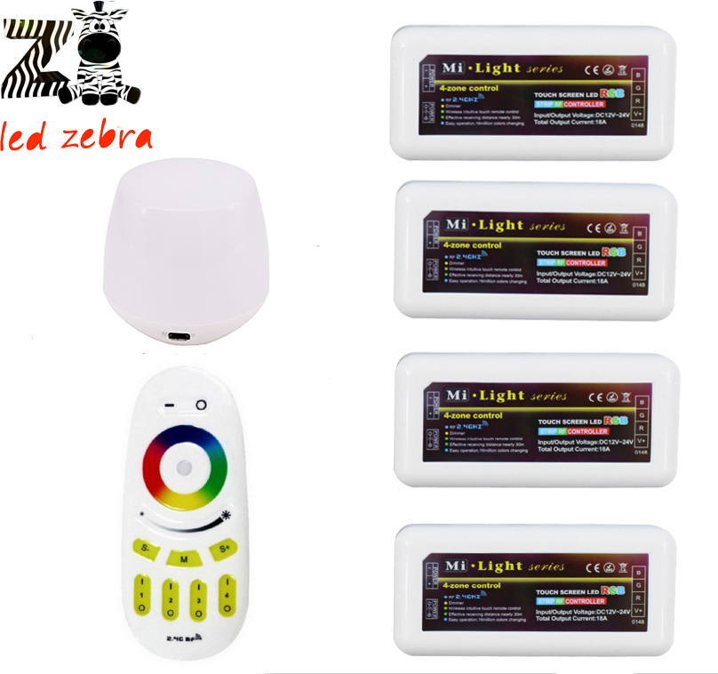 2.4g rgb touch screen remote led controller+mi.light rf wifi ibox+4pcs 4-zone wireless controller for rgb led strip bulb 100% new afe1000 qfp 100 chipset