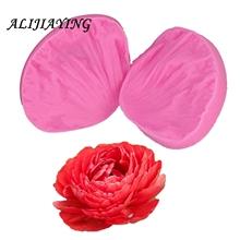 2Pcs/set 3D Rose petal shape Silicone Fondant Molds peony flower leaf Cake Decorating Tools suitable for polymer clay D1028
