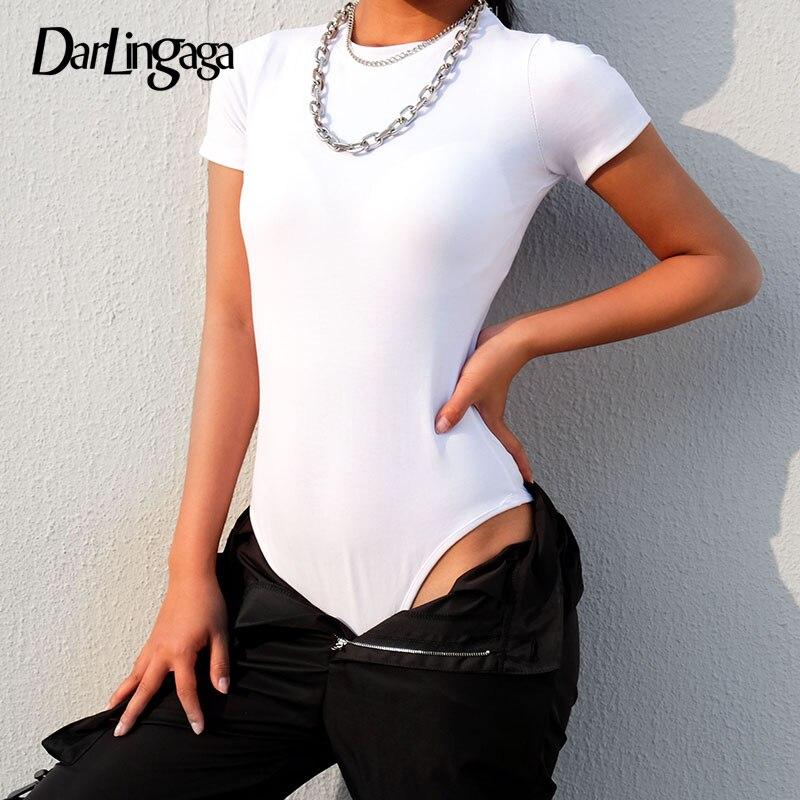 Darlingaga Casual Solid Fitness Basic Summer Bodysuit Women Short Sleeve Body Rompers Womens Jumpsuit 2019 Black White Bodysuits