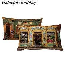 Cubierta del cojín de la tienda de la calle de la vendimia del patrón de la pintura al óleo 30*50 cm tienda de café