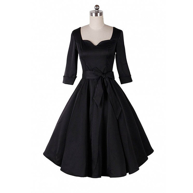 Women Autumn Flared Dresses 2015 Vintage Ladies 50s 60s Retro Dress