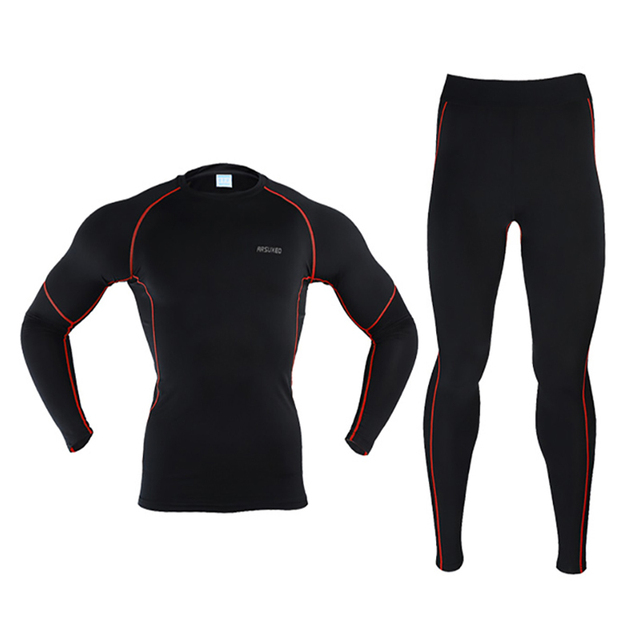 Men Thermal Underwear Warm Up Cycling Base Layer Warm Windproof MTB Bike Compression Base Layer for Cycling/Skiing/hiking