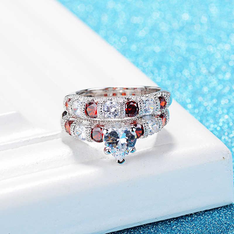 Yanleyu романтическое сердце набор парных колец подлинное серебро 925 пробы Красный Белый AAA Циркон CZ свадебные кольца для женщин подарок PR170