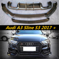 Carbon Fiber CAR FRONT Splitter LIP + BUMPER SPOILER + REAR TRUNK DIFFUSER COVER FOR Audi A3 Sline S3 Sedan 2017 2018 2019