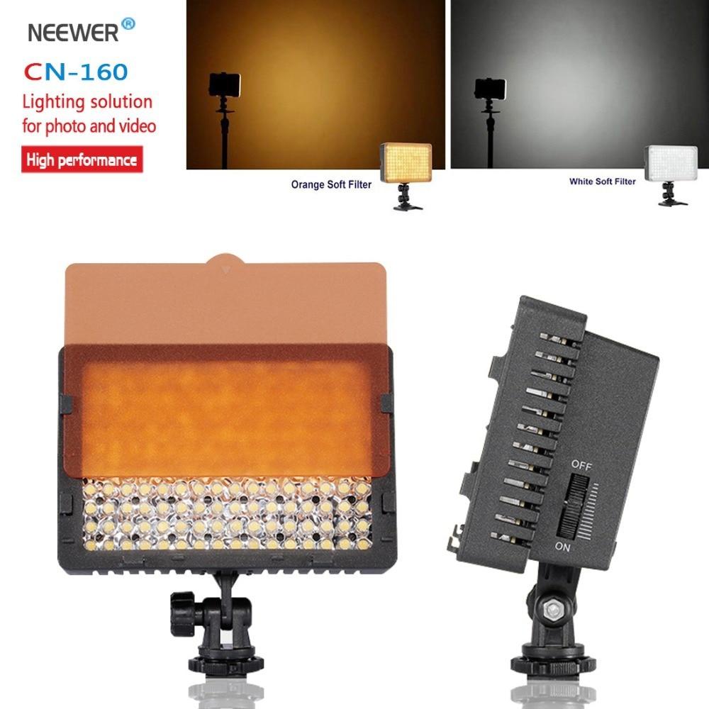 Neewer CN-160 160 مصباح فيديو LED على ضوء الكاميرا لكاميرا Canon Panasonic من كانون أو كاميرا فيديو رقمية