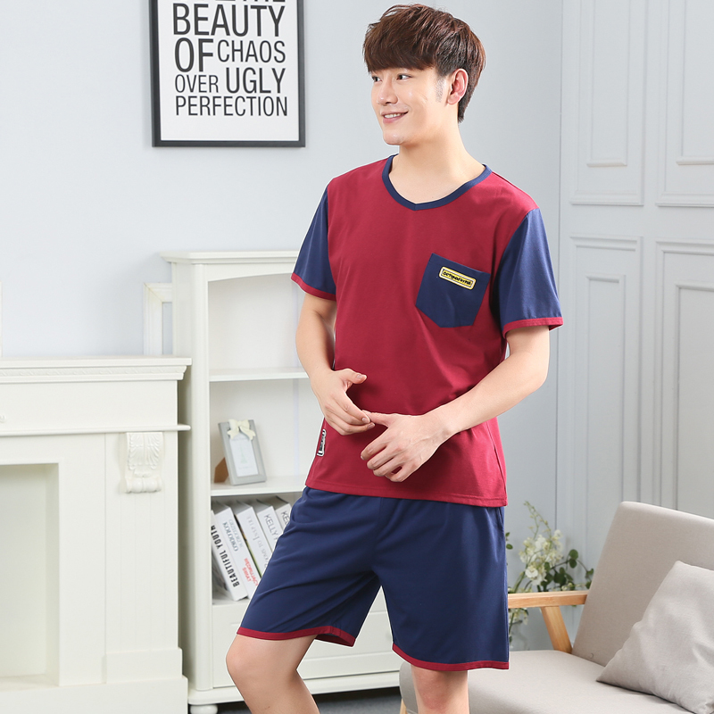 Leisure clothes Newest 2017 spring & summer short sleeved men pajamas cotton young boy sleepwear set home male pajamas sets