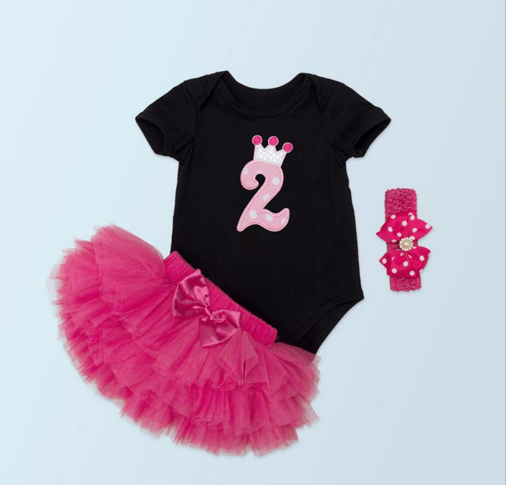 3PCs/Set Black Short Sleeves Baby Girl Second Birthday Tutu Dress Beads Polka Dots Heaband Hot Pink Bubble Skirt for 0-24Months 2pcs per set hot pink baby girl crown tutu infant 2nd birthday party outfit romper bubble skirt baby girls second birthday dress